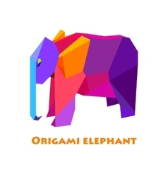 flat design with origami elephant vector image
