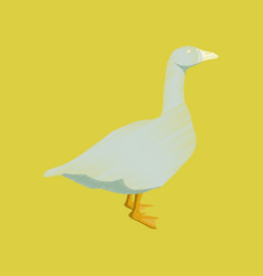 Flat shading style icon goose vector