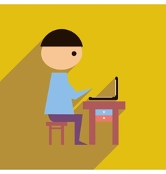 Flat web icon with long shadow man laptop vector