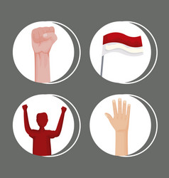 Four indonesia celebration icons vector