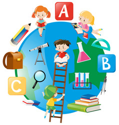 four students climbing up the ladder on earth vector image