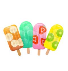 fresh fruit popsicles mint banana strawberry vector image