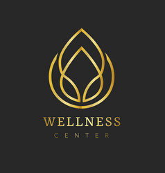 Gold spa logo template aesthetic health vector