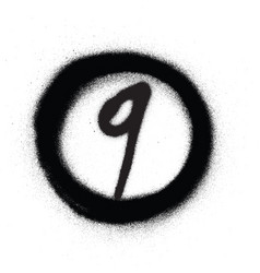 graffiti number nine 9 in circle sprayed in black vector image
