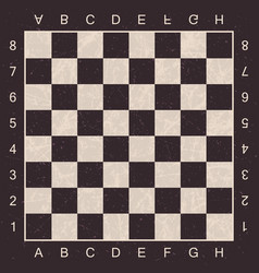 Grunge chess board with letters and numbers check vector