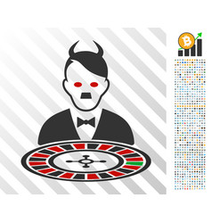 Hitler devil roulette croupier flat icon with vector