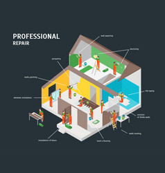 Home repair infographic concept 3d isometric view vector