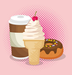 ice cream and donut with coffee vector image