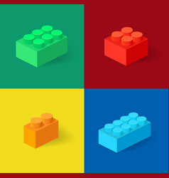 isometric plastic building blocks with shadow vector image
