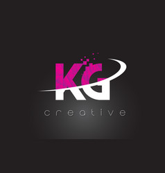Kg k g creative letters design with white pink vector