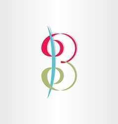 Letter b with spirals number 3 icon vector