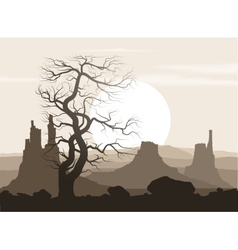 Lifeless landscape with old huge tree and vector image
