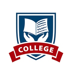 Logo shield and book for college vector