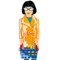 making look younger girl with pushcart pervaded vector image