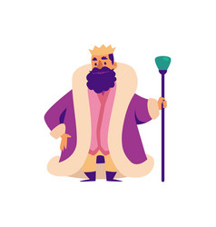 middle ages king fairy tale character in crown vector image