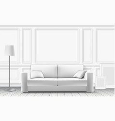 modern sofa on background of white wall vector image