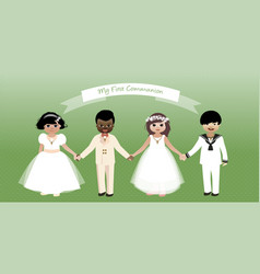 my first communion children set-02 vector image