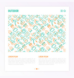 outdoor concept with thin line icons vector image