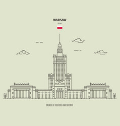 palace culture and science in warsaw poland vector image