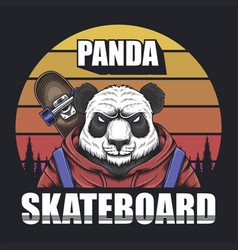 panda skateboard sunset retro vector image