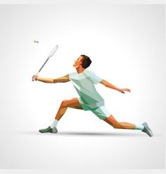 Polygonal professional badminton player vector