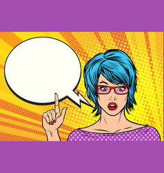 Pop art woman wow blue hair vector