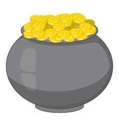 Pot of gold icon cartoon style vector