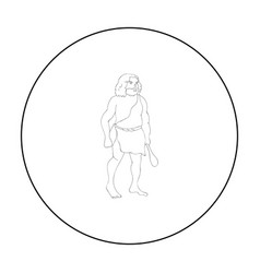 Primitive man with truncheon icon in outline style vector