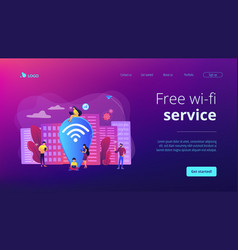 Public wi-fi hotspot concept landing page vector