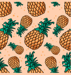 seamless pattern with pineapples design element vector image