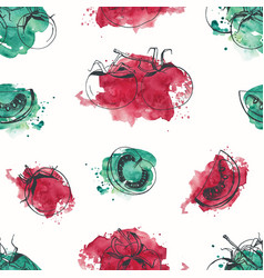 Seamless pattern with tomatoes hand drawn with vector