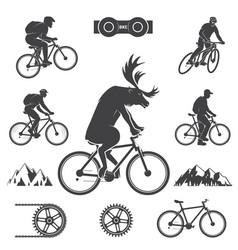 Set cycling mountain bike icons vector