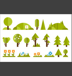 set of elements for forest landscape green trees vector image