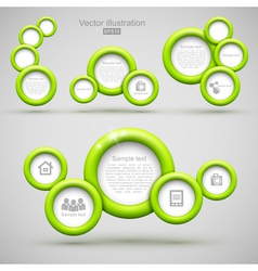Set of green circle banners vector image