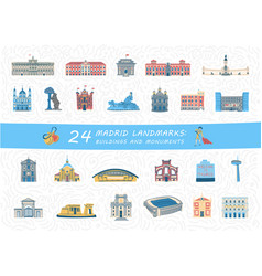 Set of madrid city buildings and monuments vector