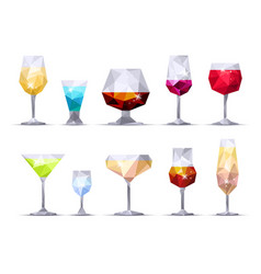 set of triangle alcoholic glasses vector image