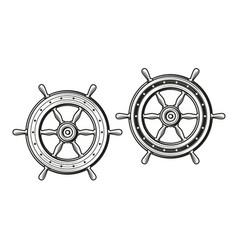 ship wheel in vintage engraving style rudder vector image