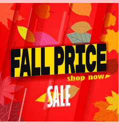 shopping sale banner template fall price vector image