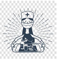 silhouette linear style nurse vector image
