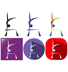 Sport icon design for gymnastics with beam vector image