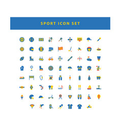 Sport icon set with flat color style design vector