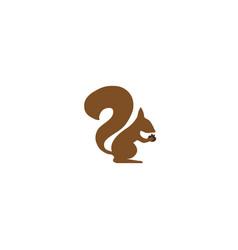 Squirrel eating walnuts almonds logo design vector