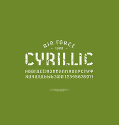 stencil-plate sans serif font in military style vector image