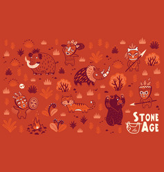 stone age set vector image
