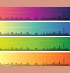Taipei multiple color gradient skyline banner vector