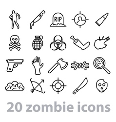 twenty zombie icons collection vector image