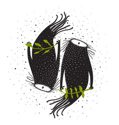 Valentine beasts monster twins design vector