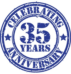 ValuablCelebrating 35 years anniversary grunge rub vector image