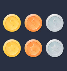 video game coins or medals set gold silver and vector image