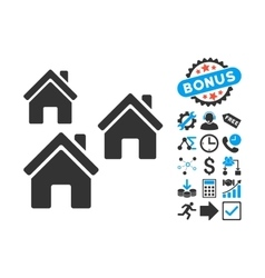 Village Buildings Flat Icon with Bonus vector image